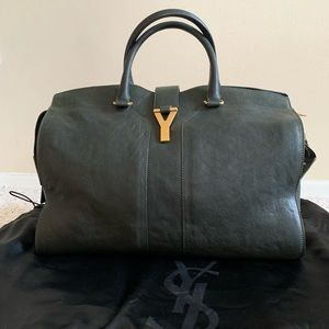 YSL Cabas Chyc Gray Large Leather Bag